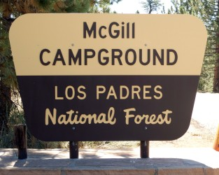 mcgill campground los padres national forest sign