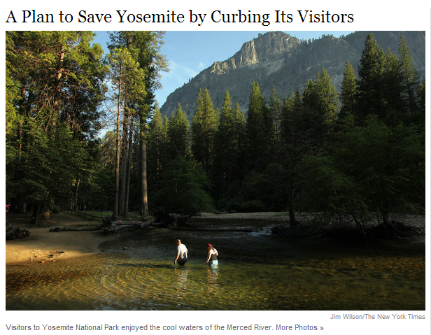 new york times article image yosemite curbing visitors