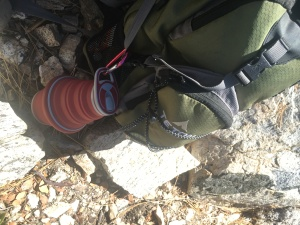 hydaway bottle attached to daypack