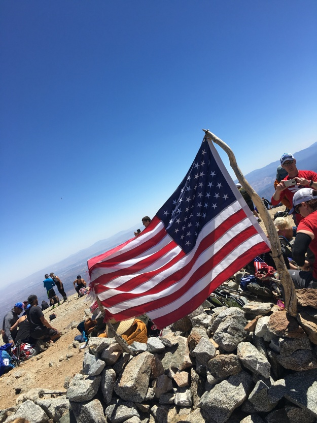 american flag on mt baldy summit